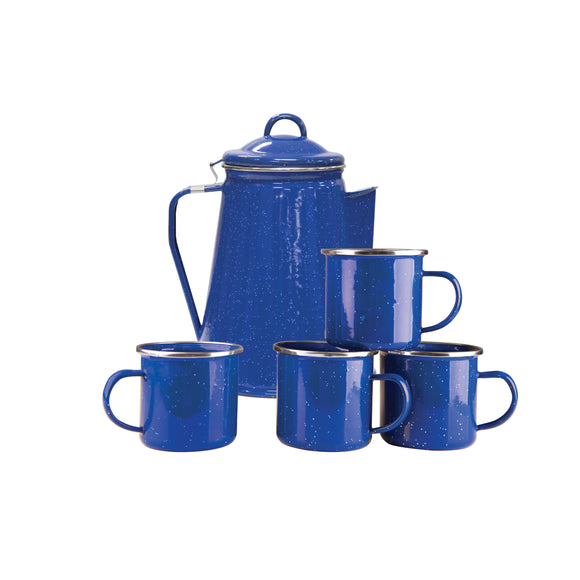 Stansport Enamel 8 Cup Coffee Pot Percolator 4 12 Ounce Mugs