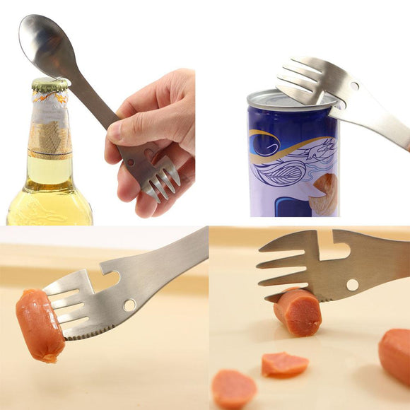 Multifunctional Camping Cookware Spoon Fork Bottle Opener