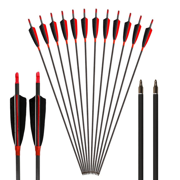 Archery Arrows 400 to 600 Spine Carbon Arrow Real Feather Hunt Gear Store