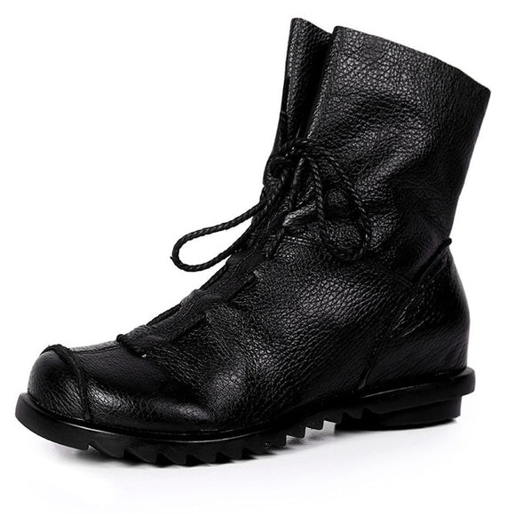 Ankle Boots Plus Size Low Heel Short Boot Lace Up