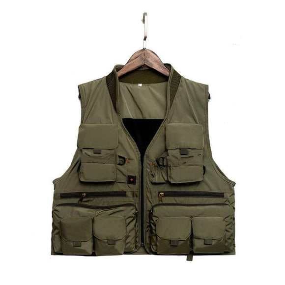 Quick Dry Fishing Vest Breathable Polyester 3 Color, Color - Army Green Hunt Gear Store