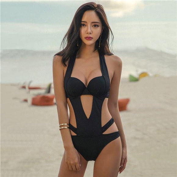 2019 Black Halter Cut Out Bandage Tankini Swimming Suits, Color - Black Swimsuit Hunt Gear Store