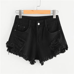 2019 Frayed Edge Ripped Denim Shorts Black Solid Hunt Gear Store