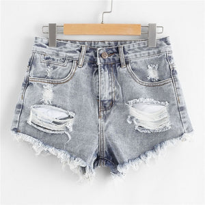 Blue Ripped Denim Shorts Shorts Women Hunt Gear Store