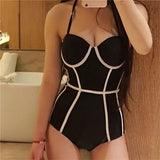 2019 Black Halter Cut Out Bandage Tankini Swimming Suits Hunt Gear Store