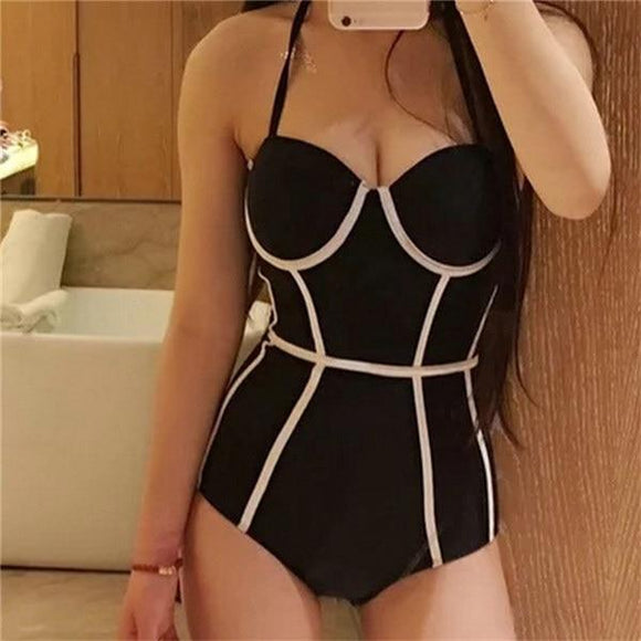 2019 Black Halter Cut Out Bandage Tankini Swimming Suits, Color - Corset Swimsuit Hunt Gear Store