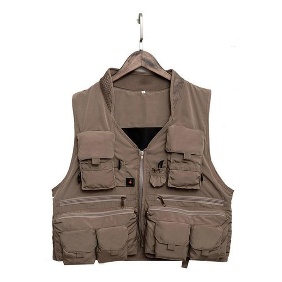 Quick Dry Fishing Vest Breathable Polyester 3 Color, Color - Khaki Hunt Gear Store