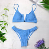 Bikinis 2019 New V Neck Set Swimsuits Push Up, Color - NO 5