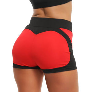 Women Yoga Shorts High Waist Push Up Quick Dry Sports, Color - Red