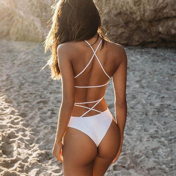 2019 One-piece Swimsuit Bikini Lace Up Backless Women's, Color - White