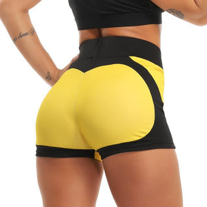 Women Yoga Shorts High Waist Push Up Quick Dry Sports, Color - YELLOW