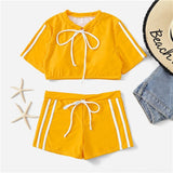 Yellow Swimming Suit Striped Tankinis Top Bottom Shorts