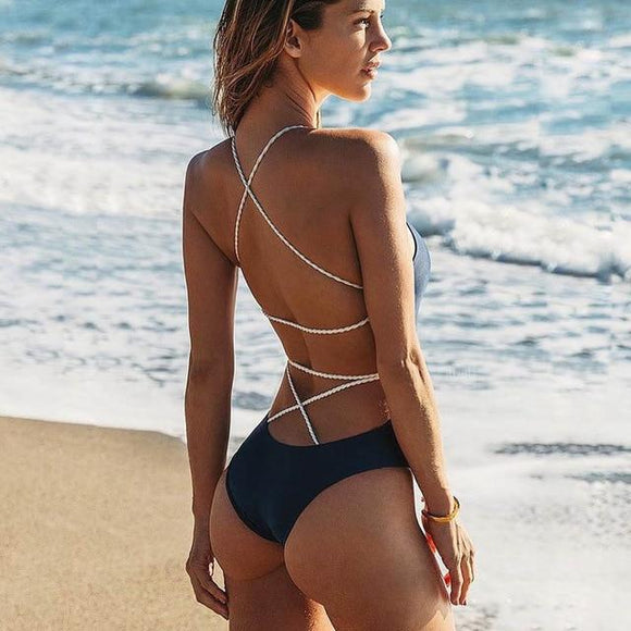 2019 One-piece Swimsuit Bikini Lace Up Backless Women's, Color - black