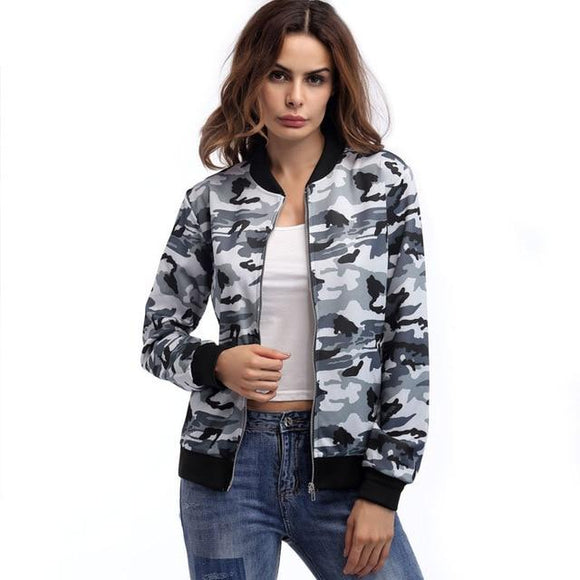 Camouflage Womens Bomber Jackets, Color - grey hoodie Hunt Gear Store