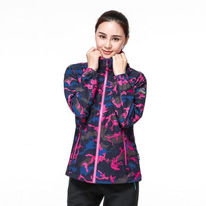 Camouflage Stretch Coat Waterproof Jacket Multiple Colors , Color - women purple Hunt Gear Store