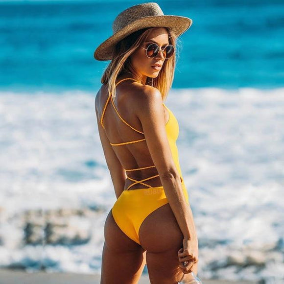 2019 One-piece Swimsuit Bikini Lace Up Backless Women's, Color - yellow