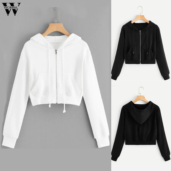 Women's Solid Long Sleeve Zipper Hoodie