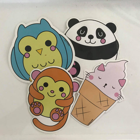 Owl, Monkey, Panda, Ice Cream Kitty Die Cut Vinyl Stickers