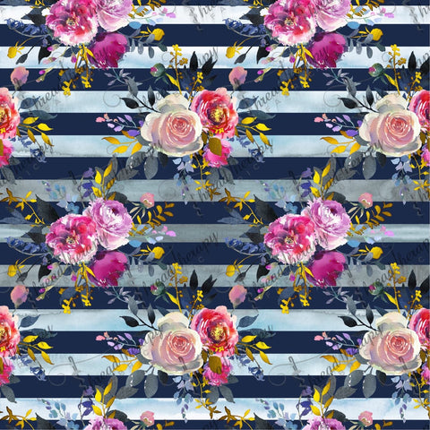 Watercolour Floral Stripe