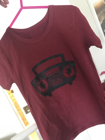 Tee - Black Maroon BOOM! Short Sleeved Size 5