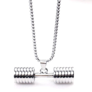 Platinum Plated Barbell Necklace