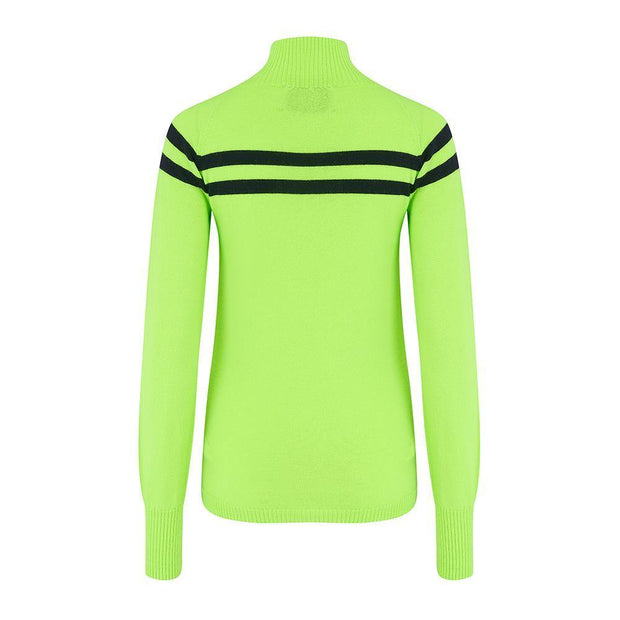 Womens Midlayer Signature Stripe Top Green Navy