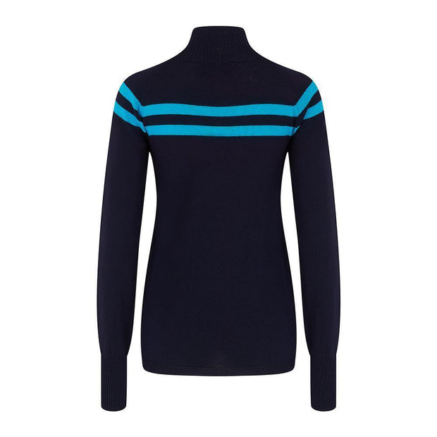 Womens Midlayer Signature Stripe Navy Turquoise - Snow Finel