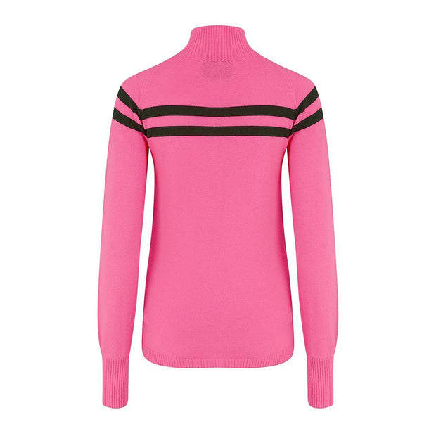 Womens Midlayer Signature Stripe Pink Navy - Snow Finel