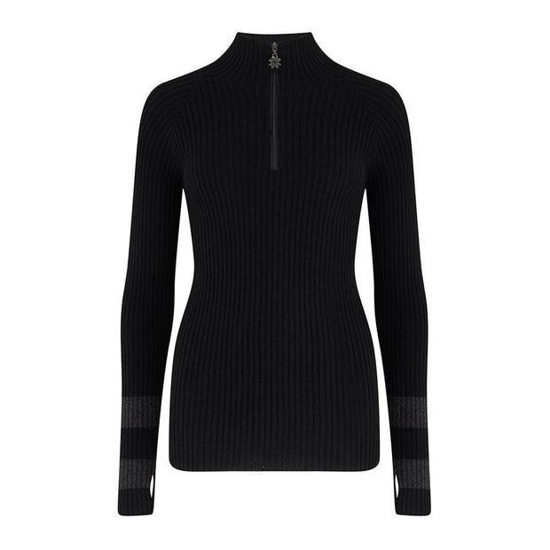 Womens Midlayer Ribbed Knit Black Charcoal - Snow Finel
