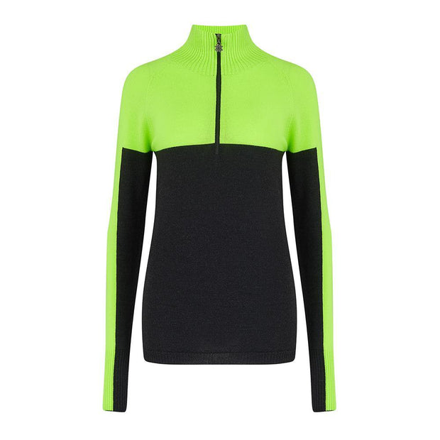 Womens Midlayer Colour-block Charcoal Green - Snow Finel
