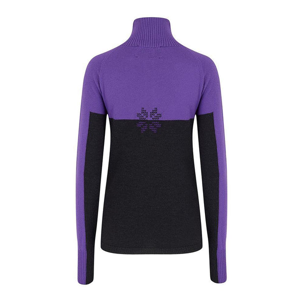 Womens Midlayer Colour-block Charcoal Purple - Snow Finel