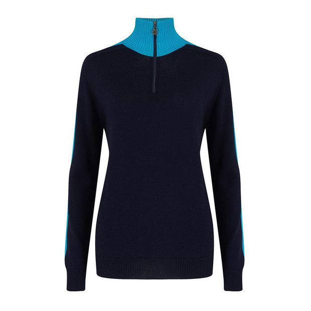Womens Midlayer Brightback Turquoise Navy - Snow Finel