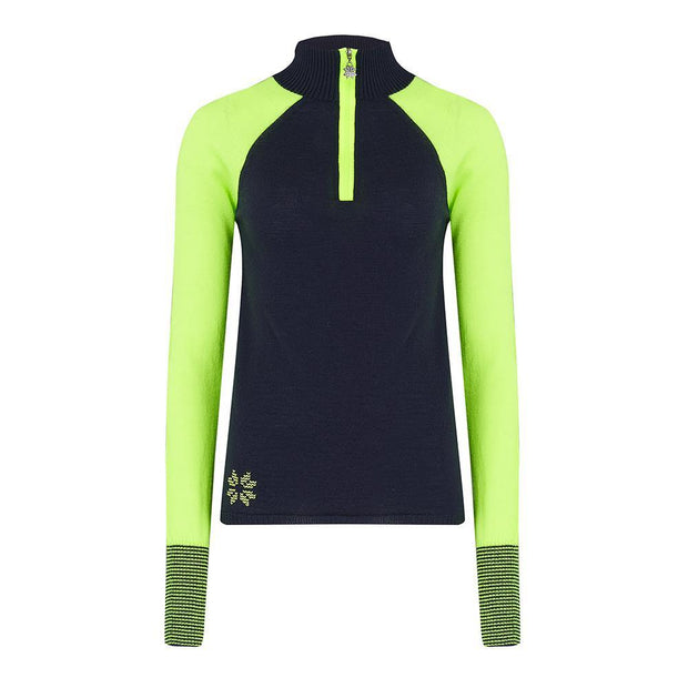 Womens Contrast Sleeve Baselayer Navy Green - Snow Finel