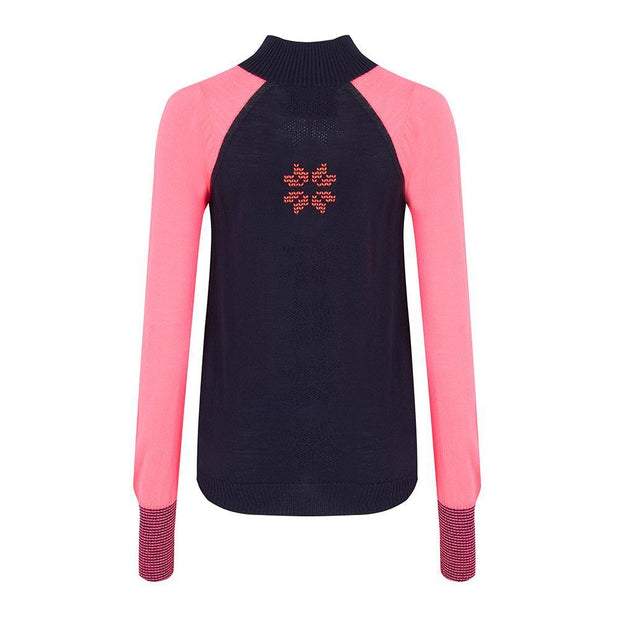 Womens Baselayer Contrast Sleeve Navy Pink