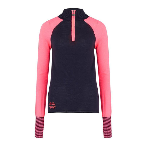 Womens Baselayer Contrast Sleeve Navy Pink - Snow Finel