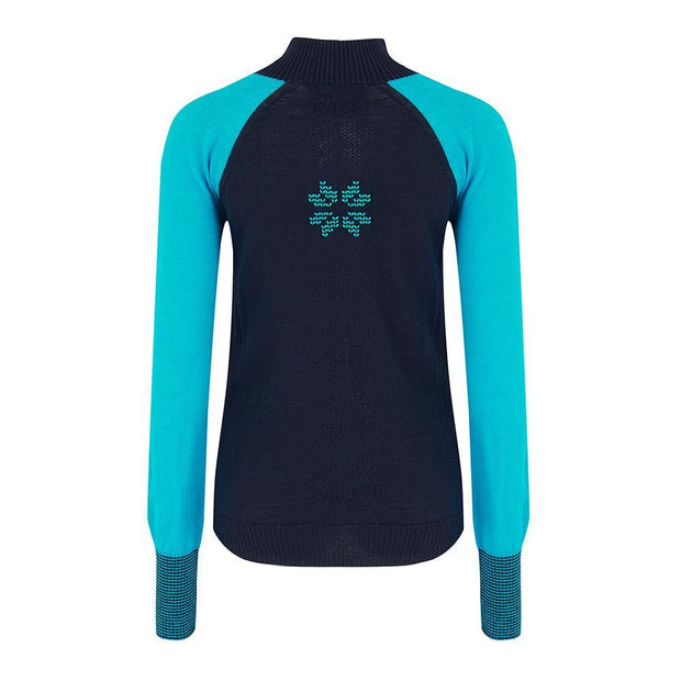 Womens Baselayer Contrast Sleeve Navy Turquoise - Snow Finel