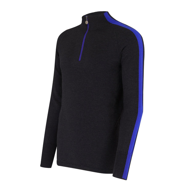 Mens Midlayer with Sleeve Stripe Charcoal