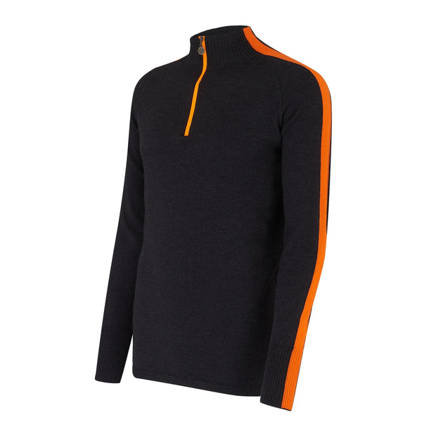 Mens Midlayer with Sleeve Stripe Charcoal - Snow Finel