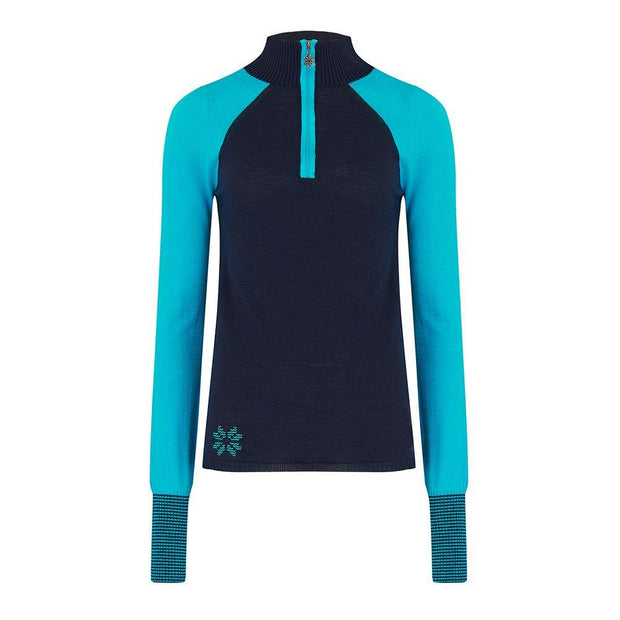 Womens Baselayer Contrast Sleeve Navy Turquoise