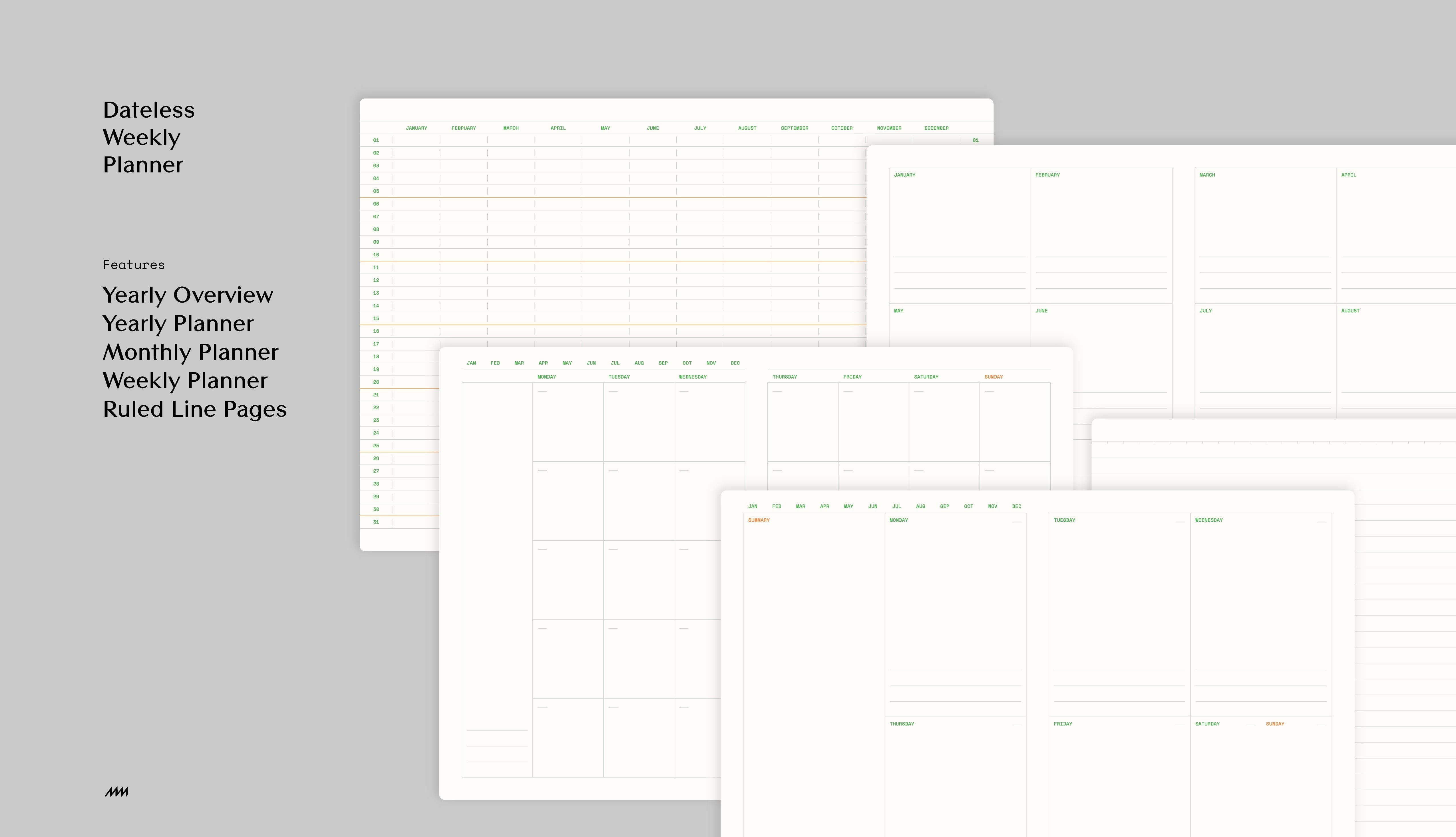 full<h3>Option 2: Dateless Weekly Planner</h3><p>Yearly Overview, Yearly Planner, Monthly Planner and Weekly Planner</p>