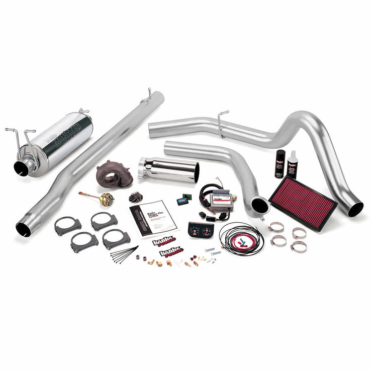 Stinger Plus Bundle Power System W/Single Exit Exhaust Chrome Tip 99 Ford 7.3L F450/F550 Automatic Transmission Banks Power