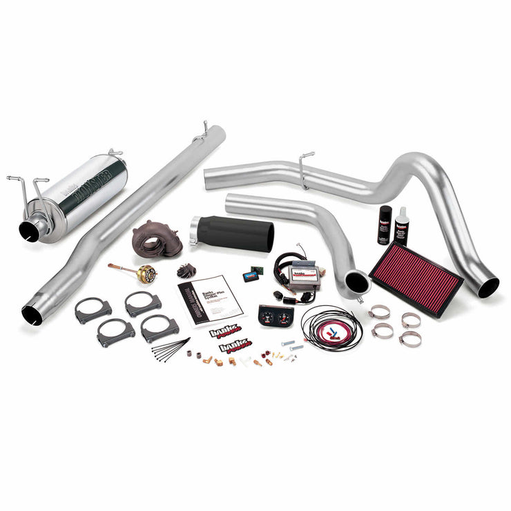 Stinger Plus Bundle Power System W/Single Exit Exhaust Black Tip 99.5 Ford 7.3L F450/F550 Manual Transmission Banks Power