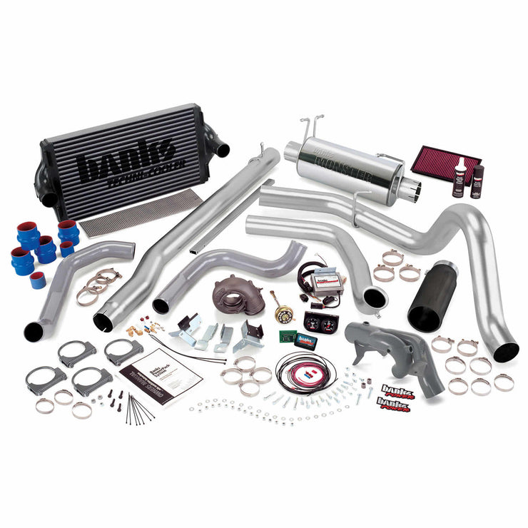 PowerPack Bundle Complete Power System W/Single Exit Exhaust Black Tip 99.5 Ford 7.3L F450/F550 Automatic Transmission Banks Power
