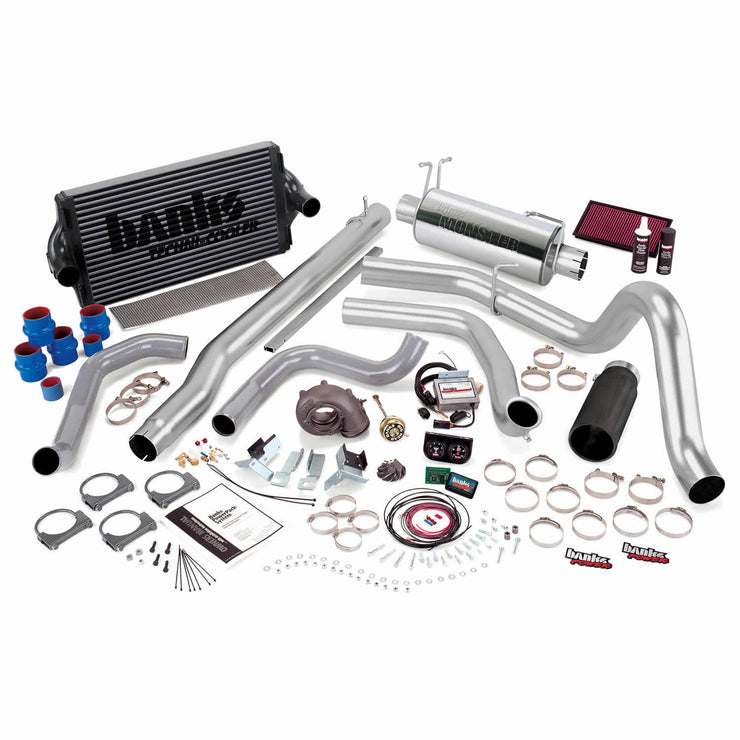 PowerPack Bundle Complete Power System W/Single Exit Exhaust Black Tip 99.5-03 Ford 7.3L F450/F550 Automatic Transmission Banks Power
