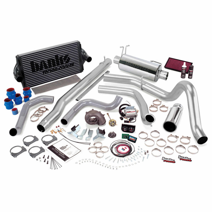 PowerPack Bundle Complete Power System W/Single Exit Exhaust Chrome Tip 99.5-03 Ford 7.3L F450/F550 Automatic Transmission Banks Power