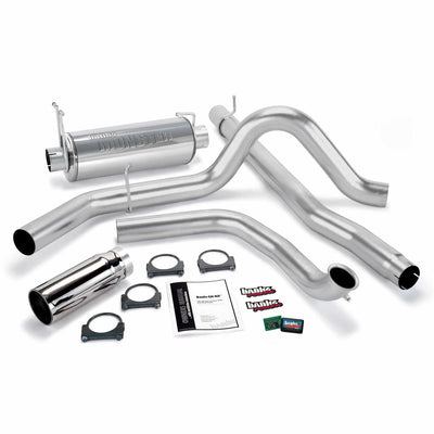 Git-Kit Bundle Power System W/Single Exit Exhaust Chrome Tip 99 Ford 7.3L Truck W/Catalytic Converter Banks Power