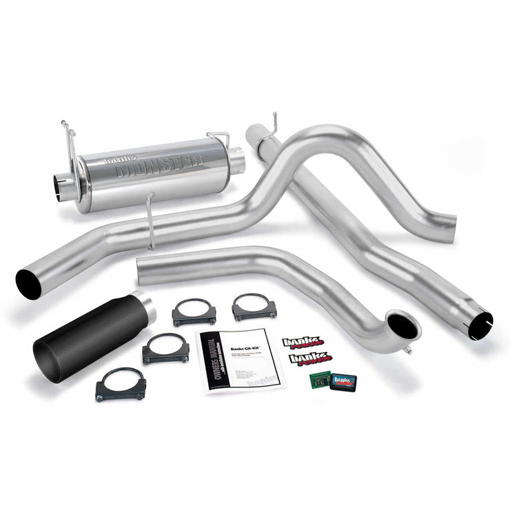 Git-Kit Bundle Power System W/Single Exit Exhaust Black Tip 01-03 Ford 7.3L W/Catalytic Converter Banks Power