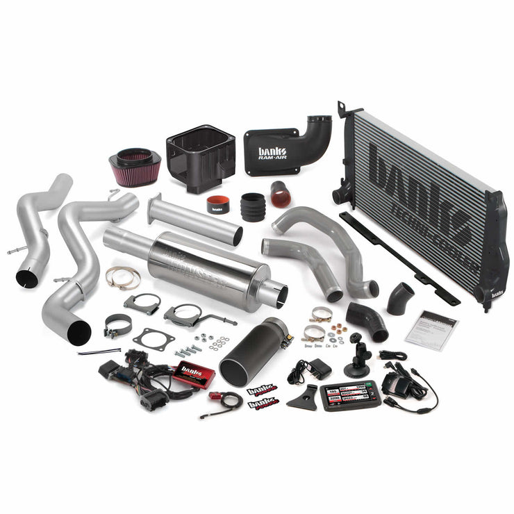 Obsolete Big Hoss Bundle Complete Power System W/Single Exhaust Black Tip 5 Inch Screen 04-05 Chevy 6.6L LLY EC/CC-SB Banks Power