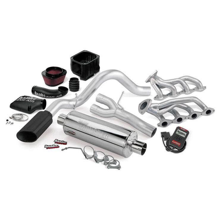 PowerPack Bundle Complete Power System W/AutoMind Programmer Black Tailpipe 02 Chevy 4.8-5.3L 1500 ECSB Banks Power