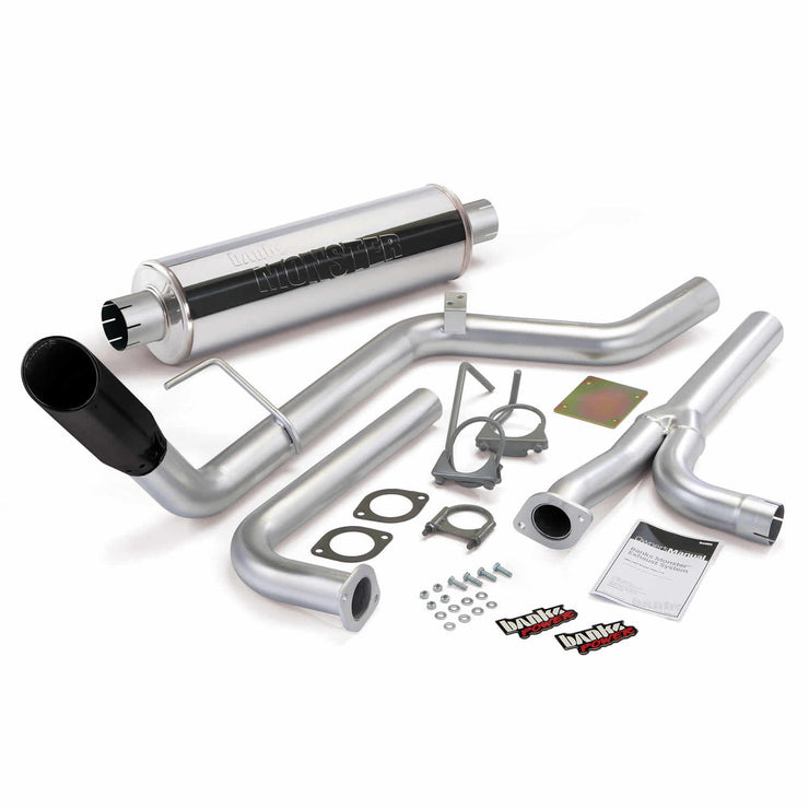 Monster Exhaust System Single Exit Black Tip 04-15 Nissan 4.0L Frontier All Cab/Beds Banks Power